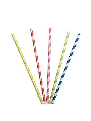 100 Stück Papierstrohhalme gestreift, 5 verschiedene Farben, für Getränke aller Art, an der Bar, für Partys, Hochzeiten