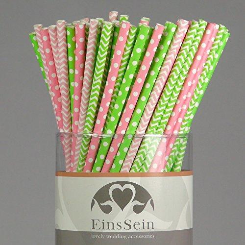 100x Papierstrohhalme Mix Candybar EinsSein® Hochzeit Party Geburtstag Strohhalme Trinkhalme