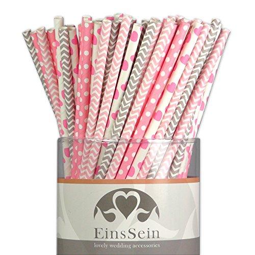 100x Papierstrohhalme Mix Candyman EinsSein® Hochzeit Party Geburtstag Strohhalme Trinkhalme