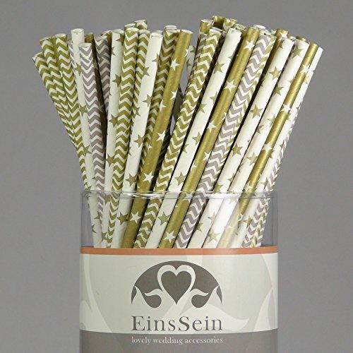 100x Papierstrohhalme Mix Golden Twenties EinsSein® Hochzeit Party Geburtstag Strohhalme Trinkhalme