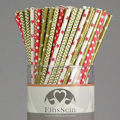 100x Papierstrohhalme Mix Silvester EinsSein® Hochzeit Party Geburtstag Strohhalme Trinkhalme