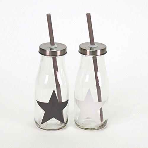 2 Milchflaschen / Trink- Glasflaschen mit Stern/Deckel 300ml mit Strohhalm