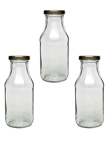 20 Saftflaschen Milchflaschen Essigflaschen Ölflaschen zum selbst Abfüllen Einmachgläser 263 ml To 43 Gold Vitrea Rezeptflyer
