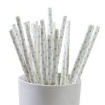 25 Papierstrohhalme / Trinkhalme mit kleinen türkisen Punkten