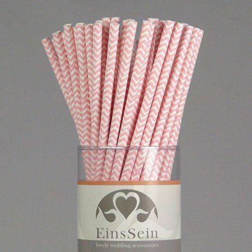 25x Papierstrohhalme Wave EinsSein® rosa Hochzeit Party Geburtstag Strohhalme Trinkhalme