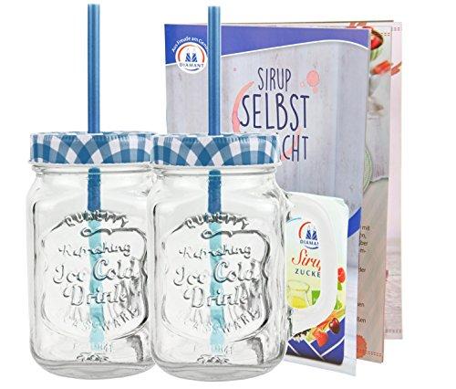 2er Set Glasbecher mit Deckel und Trinkhalm inkl. Rezeptheft - blau kariert - 0,5 Liter Trinkbecher / Trinkglas mit Relief - für Säfte, Smoothies und andere Erfrischungsgetränke