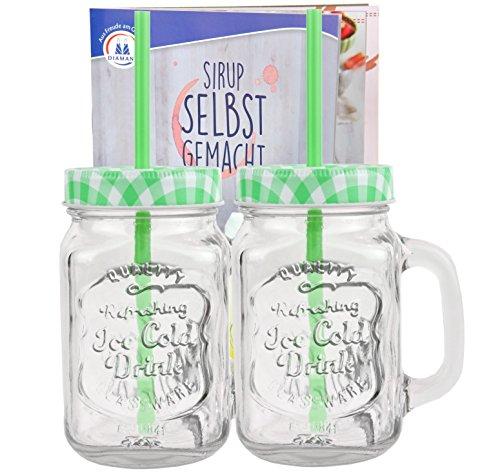 2er Set Glasbecher mit Deckel und Trinkhalm inkl. Rezeptheft - grün kariert - 0,5 Liter Trinkbecher / Trinkglas mit Relief - für Säfte, Smoothies und andere Erfrischungsgetränke