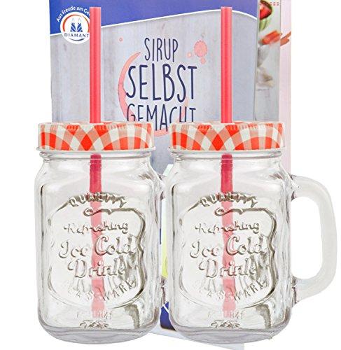 2er Set Glasbecher mit Deckel und Trinkhalm inkl. Rezeptheft - rot kariert - 0,5 Liter Trinkbecher / Trinkglas mit Relief - für Säfte, Smoothies und andere Erfrischungsgetränke