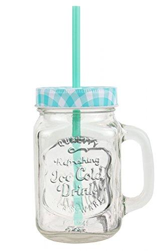 2er Set Glasbecher mit Deckel und Trinkhalm inkl. Rezeptheft - türkis kariert - 0,5 Liter Trinkbecher / Trinkglas mit Relief - für Säfte, Smoothies und andere Erfrischungsgetränke