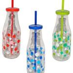 """3 Stück _ Trinkflasche / Glas / Trinkglas - mit Strohhalm u. Deckel - bunte Punkte & Farben - Trinkgläser / Trinkbecher als """" Milchglas """" - Punkt - Kinder & Erwachsene - Flasche z.B. Limonade Erfrischung Sommer - Smoothie Becher Trinkflasche - Deko - Sommerglas - Trinkgläser"""