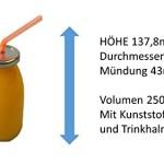 4 Milchflaschen / Trink- Glasflaschen ca. 250 ml mit Strohhalm