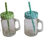 4 Stück Gläser mit Henkel Deckel und Trinkhalm, Trinkgläser Retro Country Style