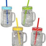 """4 Stk _ Henkelbecher - Gläser mit Strohhalm & Deckel - bunte Punkte & Farben - Trinkbecher als """" Milchglas """" Sommerglas - Flasche z.B. Limonade Erfrischung Sommer - Smoothie Becher Trinkglas Trinkflasche - Trinkgläser Einmachglas / Einweckglas - Glasbecher"""