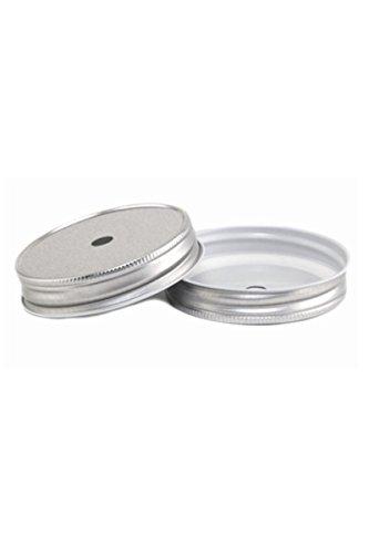 4 Stk. Deckel mit Loch - silber für Ball Mason Jar