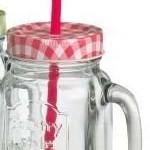 4 Trinkgläser mit Henkel Deckel rot und Trinkhalm Gläser Set a 0,5l Smoothie Retro