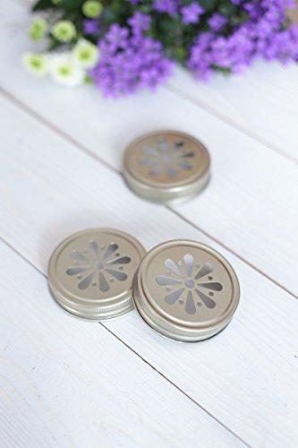 4 x Blumendeckel Gold - für Ball Mason Glas