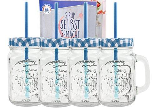 4er Set Glasbecher mit Deckel und Trinkhalm inkl. Rezeptheft - blau kariert - 0,5 Liter Trinkbecher / Trinkglas mit Relief - für Säfte, Smoothies und andere Erfrischungsgetränke