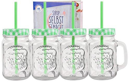 4er Set Glasbecher mit Deckel und Trinkhalm inkl. Rezeptheft - grün kariert - 0,5 Liter Trinkbecher / Trinkglas mit Relief - für Säfte, Smoothies und andere Erfrischungsgetränke