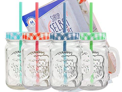 4er Set Glasbecher mit Deckel und Trinkhalm inkl. Rezeptheft - grün / rot / blau / türkis kariert - 0,5 Liter Trinkbecher / Trinkglas mit Relief - für Säfte, Smoothies und andere Erfrischungsgetränke