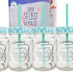 4er Set Glasbecher mit Deckel und Trinkhalm inkl. Rezeptheft - türkis kariert - 0,5 Liter Trinkbecher / Trinkglas mit Relief - für Säfte, Smoothies und andere Erfrischungsgetränke