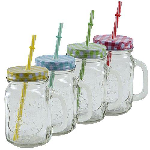4er Set Trinkglas mit Strohhalm Vintage Retro Glas Becher Deckel Henkel Party