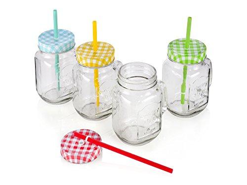 4x Trinkgläser mit Henkel, Deckel und Trinkhalm in stylischer Einmachglasoptik Glas 450ml für Heiss- und Kaltgetränke, schützt vor nervigen Insekten im Getränk