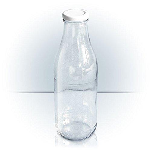 6 mal 1000ml Milchflasche mit Verschluss (To 48), Saftflasche, Ölflasche, Wasserflasche,