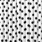 60-tlg. Set Papierstrohhalme Strohhalme MIX schwarz rosa silber - Punkte und Streifen 20 cm