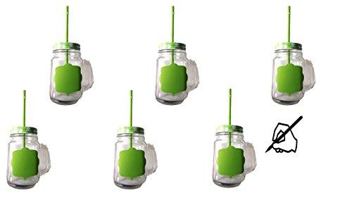 6er Set Glasbecher mit Deckel und Trinkhalm - grün kariert - 0,5 Liter Trinkbecher / Trinkglas NEU BESCHRIFTBAR- für Säfte, Smoothies und andere Erfrischungsgetränke