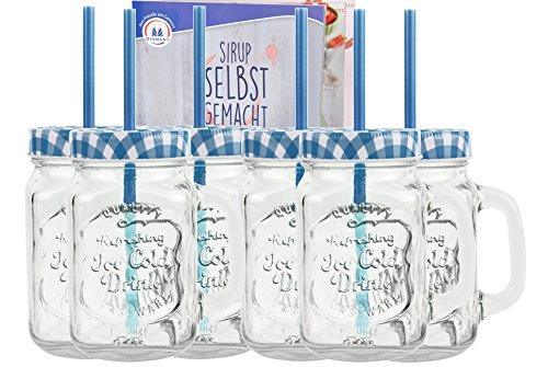 4er set trinkglas mit strohhalm vintage retro glas becher deckel henkel party. Black Bedroom Furniture Sets. Home Design Ideas