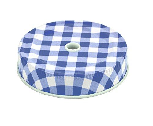 6er Set Glasbecher mit Deckel und Trinkhalm inkl. Rezeptheft - blau kariert - 0,5 Liter Trinkbecher / Trinkglas mit Relief - für Säfte, Smoothies und andere Erfrischungsgetränke