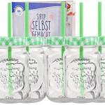 6er Set Glasbecher mit Deckel und Trinkhalm inkl. Rezeptheft - grün kariert - 0,5 Liter Trinkbecher / Trinkglas mit Relief - für Säfte, Smoothies und andere Erfrischungsgetränke