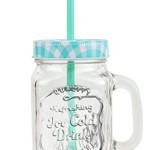 6er Set Glasbecher mit Deckel und Trinkhalm inkl. Rezeptheft - türkis kariert - 0,5 Liter Trinkbecher / Trinkglas mit Relief - für Säfte, Smoothies und andere Erfrischungsgetränke