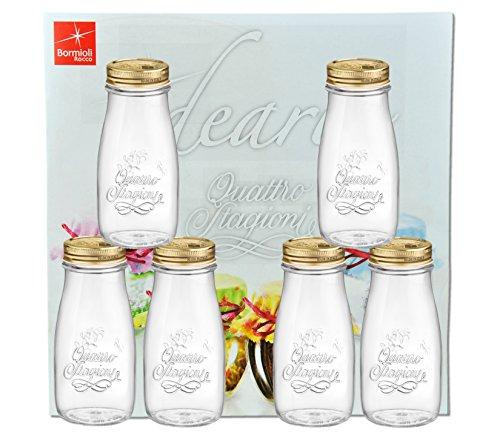6er Set Quattro Stagioni Flasche 0,40l incl. Bormioli Rezeptheft - als Saft Smoothie Getränke Fläschchen, zur Dekoration oder als Einmachglas, Vorratsglas