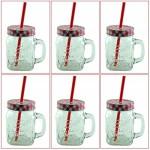 6er Set Vintage Trinkgläser mit Henkel und Deckel im Country Style inklusive einer K7plus Eiswürfelform (rot)