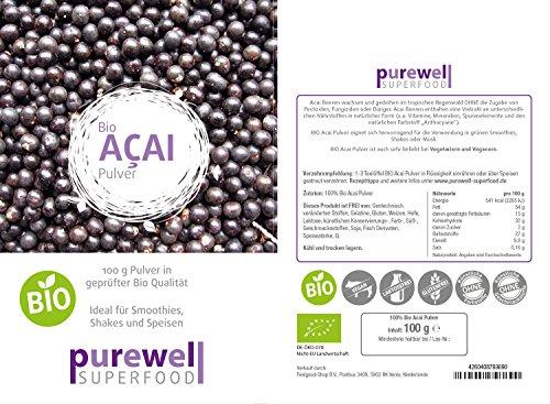 ACAI Pulver - Bio Superfood - Für natürliche Schönheit & Schlankheit & Gesundheit (100g Acaipulver - BIO Acai Beerenpulver)