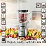 AEG PerfectMix 1,4 PS Hochleistungs-Standmixer PremiumLine 7Series SB14PS (23.000 U/min perfekt für Smoothies, 5 Geschwindigkeitsstufen, 1,65 L Thermo-Glaskrug, Titan beschichtete Messer, LED-Hinterleuchtung) Edelstahl