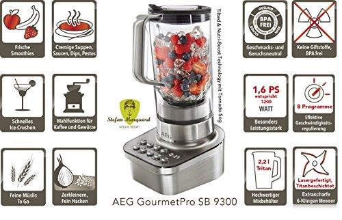 AEG SB9300 GourmetPro Standmixer (1,6 PS-Turbo-Motor, 8 Programme, 2,2 Liter bruchfester Tritanbehälter, 6 titanbeschichtete Messer, LCD-Display) Edelstahl