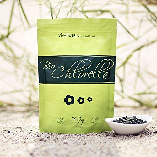 Bio-Chlorella Pulver, 500g, aus kontrolliert biologischen Anbau, laborgebrüft, Rohkostqualität!
