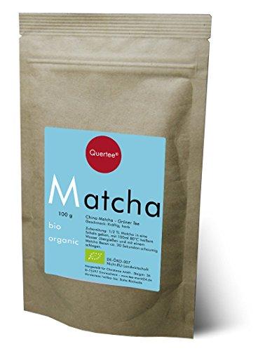 Bio Matcha Tee Pulver von Quertee® - Blue Style - im 100 g Zip Beutel - Matcha zum Trinken - Kochen und Backen