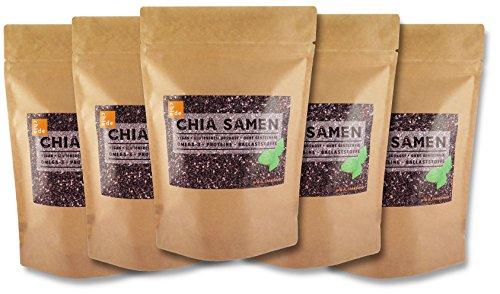 Chia Samen ChiaDE 5kg (1er Pack 5x1kg) / Chiasamen. Premium Qualität, geprüft in Deutschland