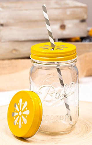 Daisy Lid Gelb für Regular Mouth Ball Mason Jars
