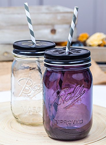 Daisy Lid Schwarz für Regular Mouth Ball Mason Jars/ 3er Set