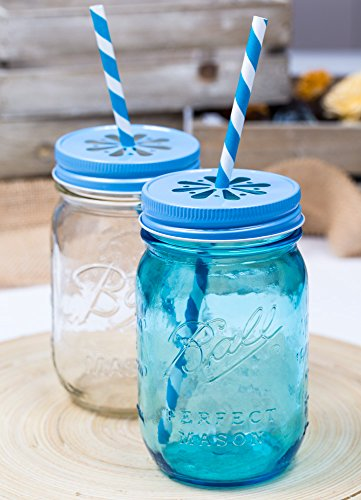 Daisy Lid Sky Blue für Regular Mouth Ball Mason Jars/ 3er Set