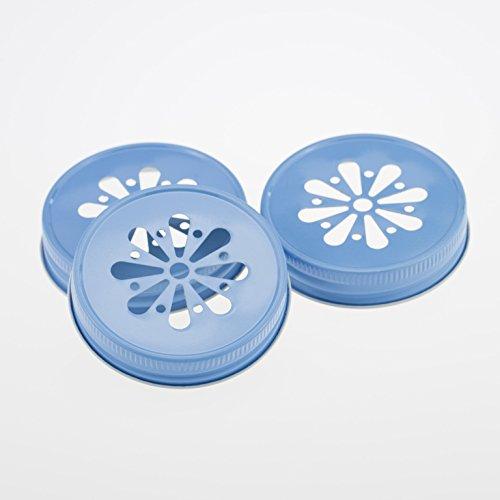 Daisy Lid Sky Blue für Regular Mouth Ball Mason Jars/ 3er Set