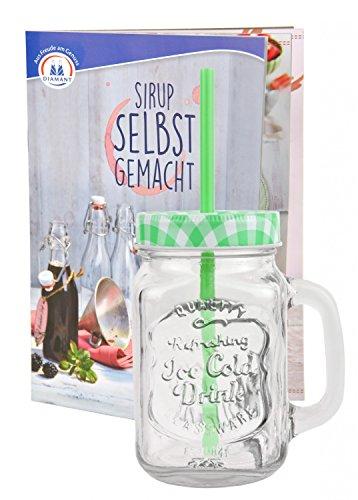 Glasbecher mit Deckel und Trinkhalm inkl. Rezeptheft - grün kariert - 0,5 Liter Trinkbecher / Trinkglas mit Relief - für Säfte, Smoothies und andere Erfrischungsgetränke