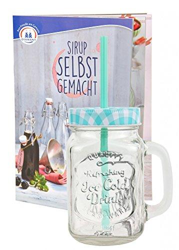 Glasbecher mit Deckel und Trinkhalm inkl. Rezeptheft - türkis kariert - 0,5 Liter Trinkbecher / Trinkglas mit Relief - für Säfte, Smoothies und andere Erfrischungsgetränke