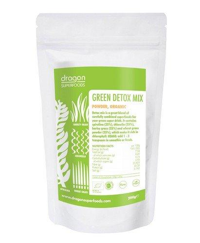 Green Detox Mix - Spirulina Chlorella Gerstengras Weizengras - Superfood Smoothie Shake Pulver - Protein + Chlorophyll 200g (bio, roh, vegan)