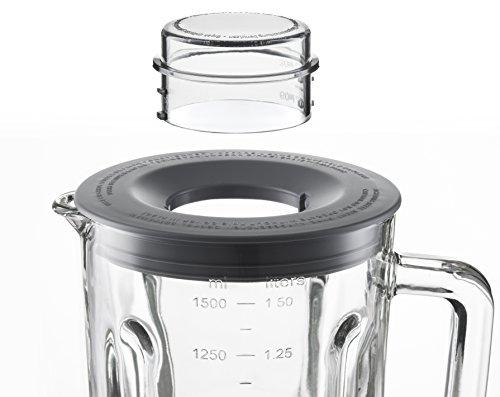 Grundig SM 7280 W Premium Standmixer, mit 4 Geschwindigkeitsstufen und Glasbehälter 1,5 L, Pulsfunktion, Edelstahlmesser, Spülmaschinen geeignet, weiß / edelstahl