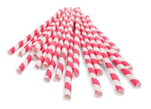 Kikkerland CU13R Papierstrohhalme gestreift, 144 Stück, rot